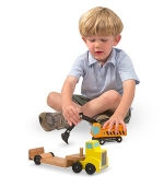 MD Trailer & Excavator Wooden Vehicles Play Set image