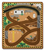 MD Round the Construction Zone Work Site Rug & Vehicle Set image
